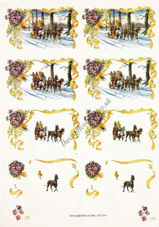 Edwardian Horses In Winter 3d Decoupage Sheet